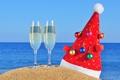 Картинка песок, пляж, праздник, игрушки, новый год, рождество, ёлка