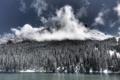 Картинка зима, пейзаж, горы, река
