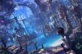 Картинка девушка, корабль, руины, сидит, art, древний город, reishin