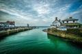 Картинка море, небо, пейзаж, берег, дома, горизонт, Великобритания