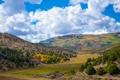 Картинка облака, осень, трава, деревья, долина, горы, небо