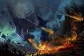 Картинка обломки, замок, огонь, драконы, армия, арт, битва