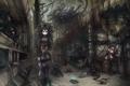 Картинка старец, девушки, очки, гаечный ключ, дракон, аниме, арт