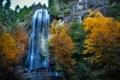 Картинка осень, водопад, природа, Western Oregon, Silver Falls, скала