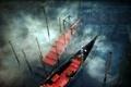 Картинка вода, туман, пристань, утро, канал, ступени, гондола