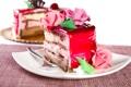 Картинка розовый, шоколад, розы, торт, крем, десерт, желе