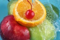 Картинка вода, брызги, яблоко, апельсин
