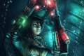 Картинка девушка, металл, оружие, скафандр, арт, шлем, Bioshock 2