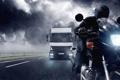 Картинка дорога, облака, непогода, мотоциклист