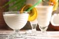 Картинка апельсин, киви, коктейль, трубочка, молочный