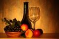Картинка вино, бокал, виноград, фрукты
