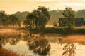 Картинка туман, дом, река, утро