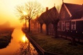 Картинка утро, город, свет, Holland, туман
