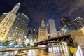 Картинка вода, ночь, небоскребы, Чикаго, USA, Chicago, мегаполис