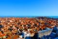 Картинка горизонт, небо, tilt-shift, море, город, venice, дома