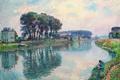 Картинка пейзаж, река, картина, рыбак, Henri Lebasque, Fisher at the Bank of the Marne at Lagny