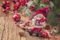 Картинка decoration, Новый год, dolls, ornaments, toys, вишни, куклы