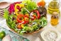 Картинка листья, масло, лук, перец, овощи, помидоры, салат