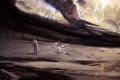 Картинка поверхность, молнии, человек, скафандр, арт