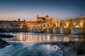 Картинка небо, огни, сумерки, Испания, Кордова, река Гвадалквивир, Римский мост