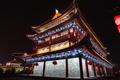 Картинка ночь, огни, Китай, Пекин, китайская архитектура