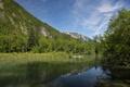 Картинка зелень, лето, деревья, горы, озеро, холмы