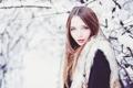 Картинка девушка, снег, деревья, ветки, природа, макияж