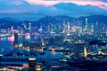 Картинка огни, вечер, Hong Kong