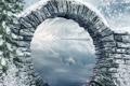 Картинка зима, деревья, горы, мост, природа, река, фото