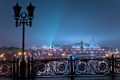 Картинка пейзаж, ночь, мост, огни, река, фонарь, Москва
