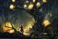 Картинка лес, река, дерево, шары, арт, фонарь, мужчина