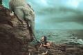Картинка море, человек, слон