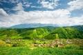 Картинка горы, дома, долина