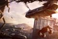 Картинка город, монстр, вертолет, Apocalypse, MotorStorm