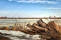 Картинка природа, пейзаж, река, снег, весна