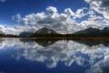 Картинка лес, горы, вода, облака