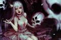 Картинка язык, кровь, корона, арт, девочка, клыки, вампир
