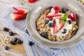 Картинка ягоды, завтрак, черника, клубника, злаки, fresh, berries