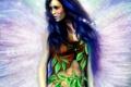 Картинка листья, девушка, волосы, крылья, фея