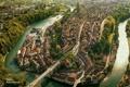 Картинка машины, река, Город, день, мосты, улицы