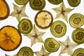 Картинка белый, фон, лимон, апельсин, киви, фрукты