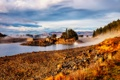 Картинка осень, лес, деревья, природа, туман, река, камни