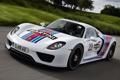 Картинка дорога, белый, фон, Prototype, Porsche, Мартини, суперкар