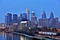 Картинка река, Филадельфия, набережная, небоскрёбы, Делавэр, синий час