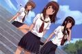 Картинка небо, девушки, ступеньки, школьная форма, anime, art, подруги