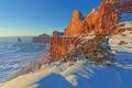Картинка США, скалы, Юта, зима, горы, каньон, снег