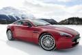 Картинка небо, снег, горы, красный, Aston Martin, Vantage, суперкар