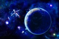 Картинка космос, синева, планета, звёзды, станция, контуры