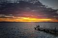 Картинка волны, небо, солнце, облака, закат, горы, озеро