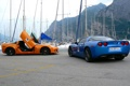 Картинка corvette, chevrolet, blue, orange